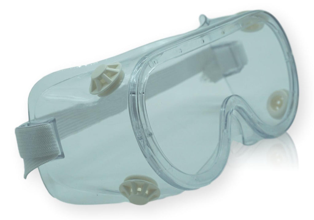 PROTECTIVE PLASTIC GOGGLES with adjustable elastic strap