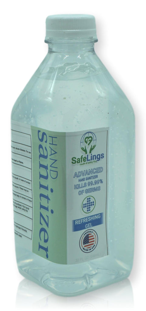 GEL Hand Sanitizer - Alcohol 70% - Made in USA 32 OZ