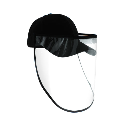 Protective & Detachable 100% Cotton Cap with Face Shield Black