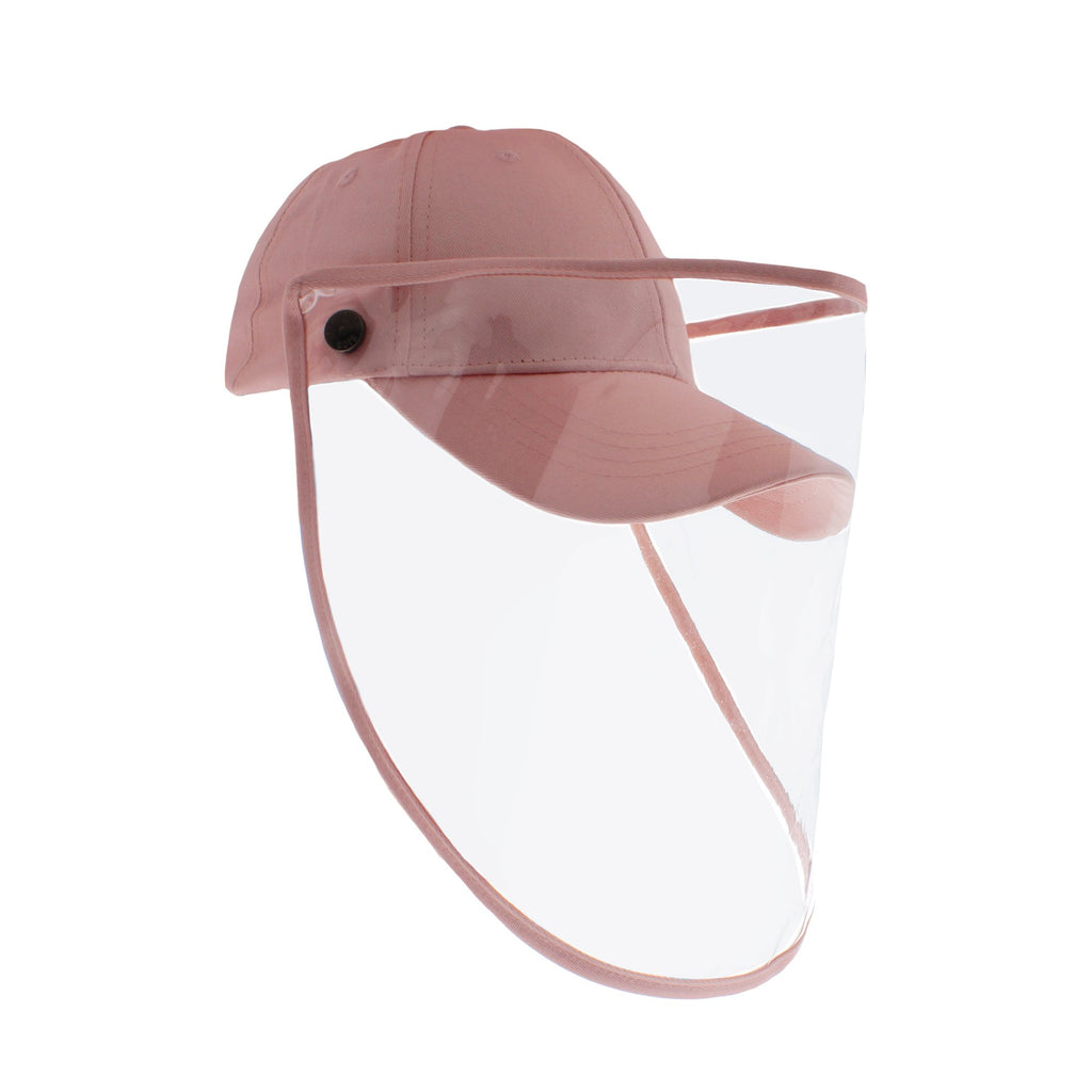 Protective & Detachable 100% Cotton Cap with Face Shield Pink