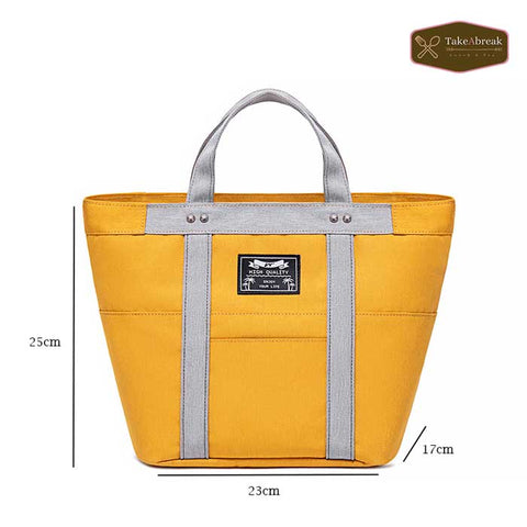 Dimensions lunch bag isotherme femme jaune