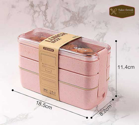 Dimensions bento 3 compartiments rose type lunch box