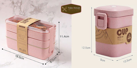 TakeAbreak | Lot bento 3 compartiments 900ml + Cup 600ml