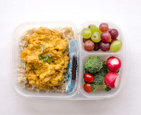 Courge curry fruit lunch box végétarienne