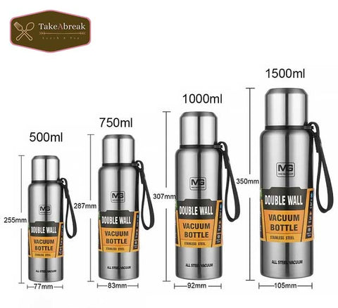 Dimensions bouteille isotherme 500ml 750ml 1000ml 1500ml