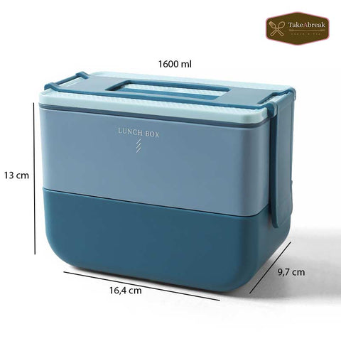 Dimensions lunch box type bento double compartiment