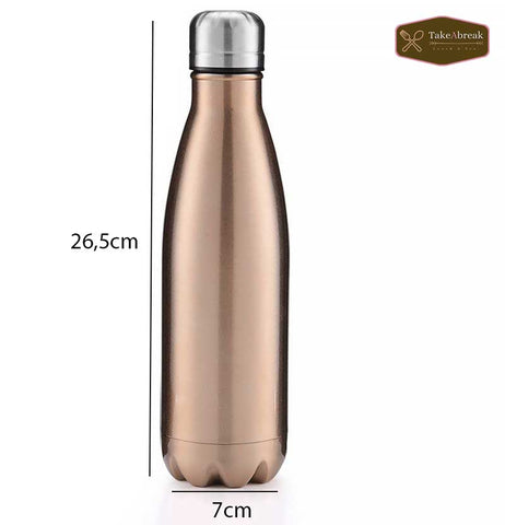 Dimensions bouteille isotherme inox bronze