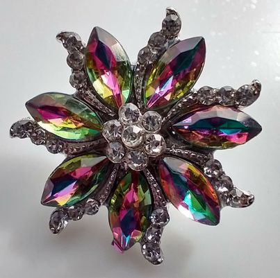 Rainbow Flower Snap Button