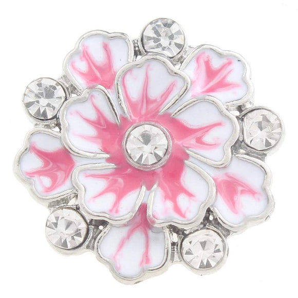 Hibiscus Rhinestone Flower Snap Button