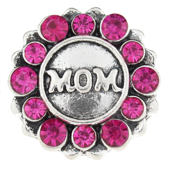 Mom Rhinestone Snap Button
