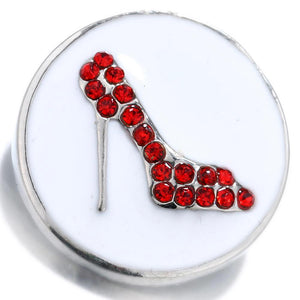 Life Red shoes White Enamel Snap Button