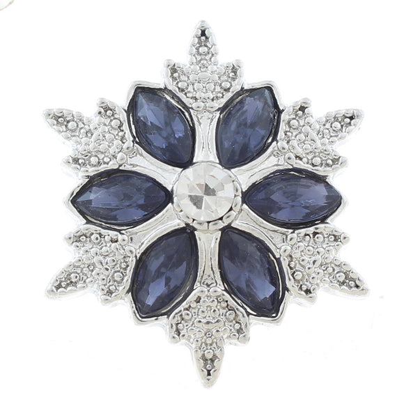 Black Snowflake Snap Button