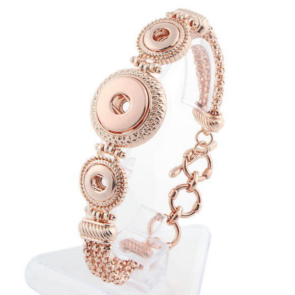 Rose Gold Three Snap Snap Button Bracelet