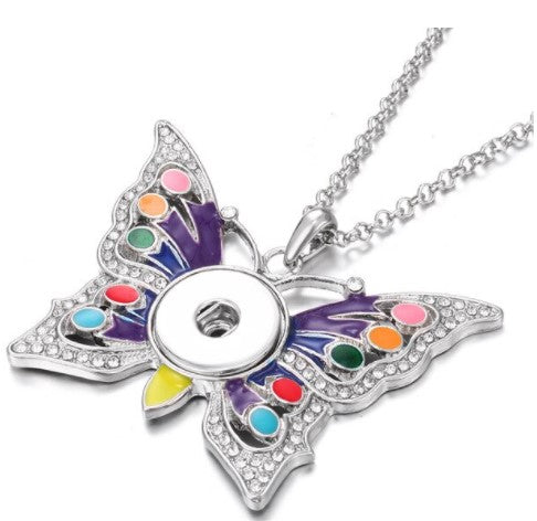 Silver Colorful Butterfly Snap Button Necklace