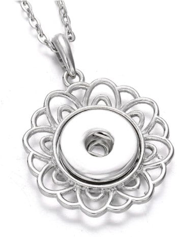 Silver Flower Snap Button Necklace
