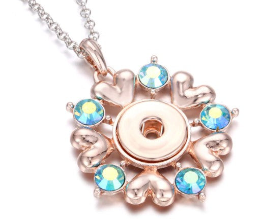 Rose Gold Rhinestone Snap Button Necklace