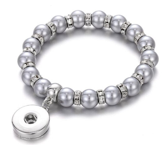 Gray Crystal Pearl Snap Button Bracelet