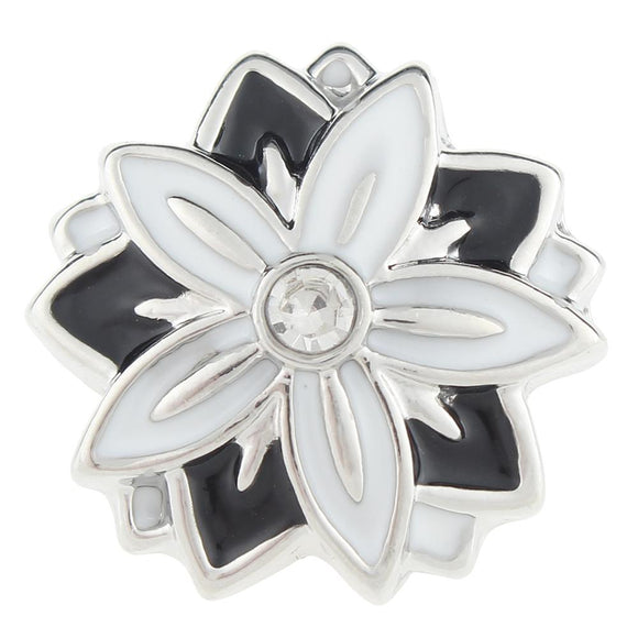 Black and White Flower Snap Button