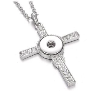 Silver Cross Snap Button Necklace