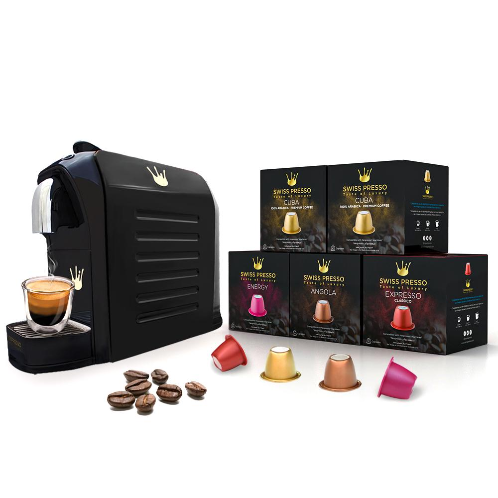Swiss Presso Föhn Espresso Coffee Machine Black With 50 Coffee Capsules - Nespresso Compatible