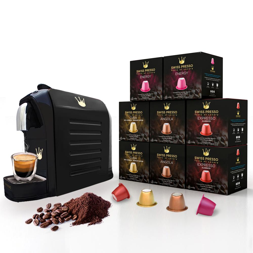 Swiss Presso Föhn Espresso Coffee Machine Black With 80 Coffee Capsules - Nespresso Compatible