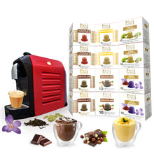 Load image into Gallery viewer, Swiss Presso Föhn Espresso Coffee Machine Red with 12 packs of Neronobile Capsules (120 capsules of Chocolate, Hazelnut, Karak Tea)