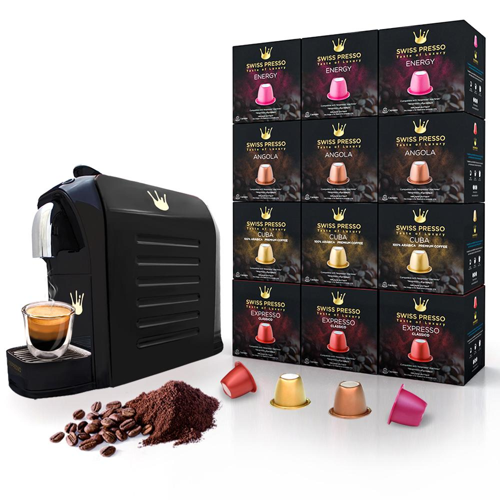 Swiss Presso Föhn Espresso Coffee Machine Black With 120 Coffee Capsules