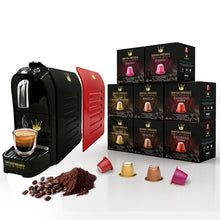 Load image into Gallery viewer, Swiss Presso Föhn Espresso Coffee Machine Black With 50 Coffee Capsules and Red Panel - Nespresso Compatible