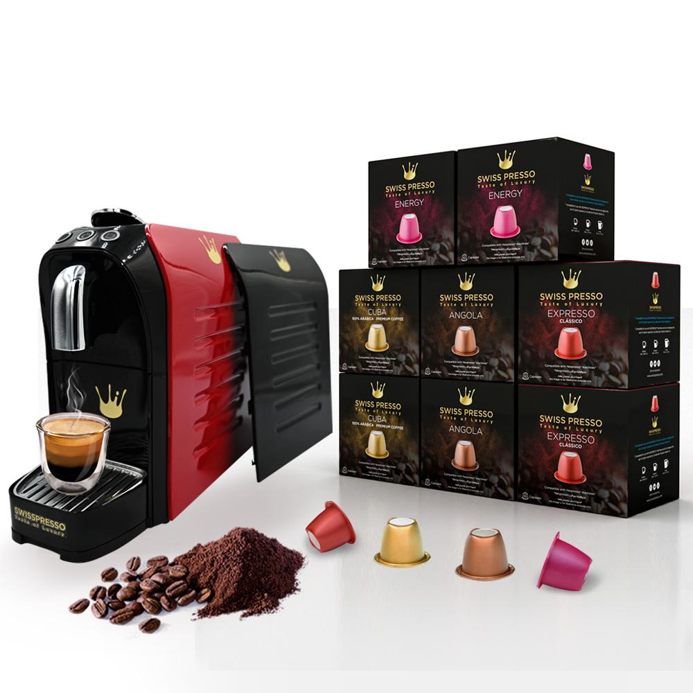 Swiss Presso Föhn Espresso Coffee Machine Red With 80 Coffee Capsules and Black Side Panel - Nespresso Compatible