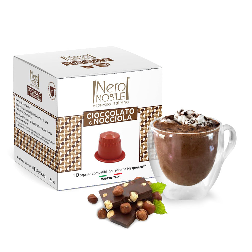 Neronobile Cioccolato E Nocciola - Chocolate Hazelnut Flavored Nespresso Compatible Capsules Pack of 10