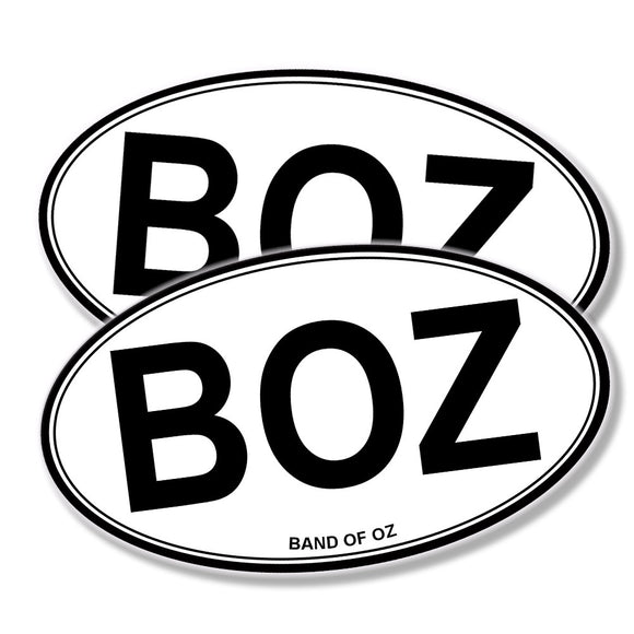 BOZ Oval Black White Vinyl 2 Pack Decals