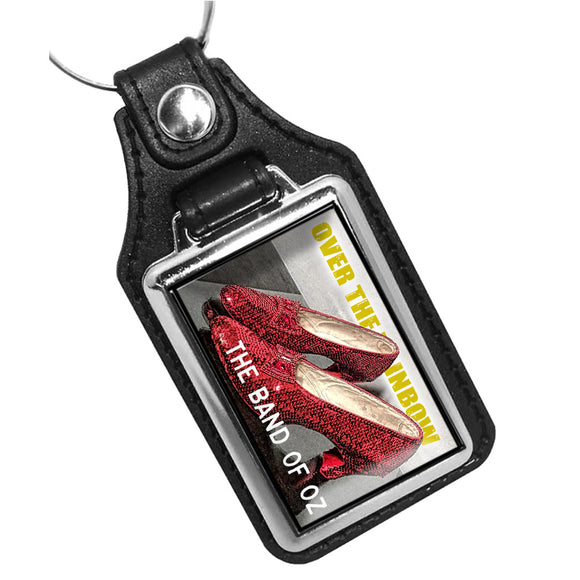 Over The Rainbow Ruby Red Slippers Faux Leather PVC Key Ring