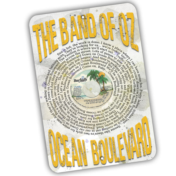 Band of Oz Ocean Boulevard Record Label and Lyrics 12x8 Inch Aluminum Sign