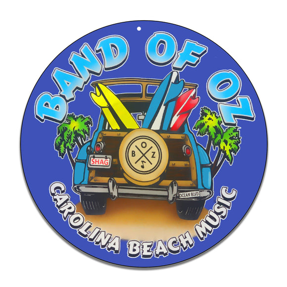 Band of Oz Surfing Woody Carolina Beach Music Design 11.75 Inch Aluminum Round Sign
