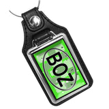 Bright Green BOZ Band of Oz Oval Design Faux Leather PVC Key Ring