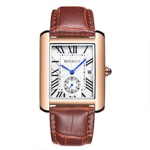 Load image into Gallery viewer, Luxury Brand Men Watches Unique Design Rose Gold Calendar Stop Watch Genuine Leather Quartz Business Watch for Man