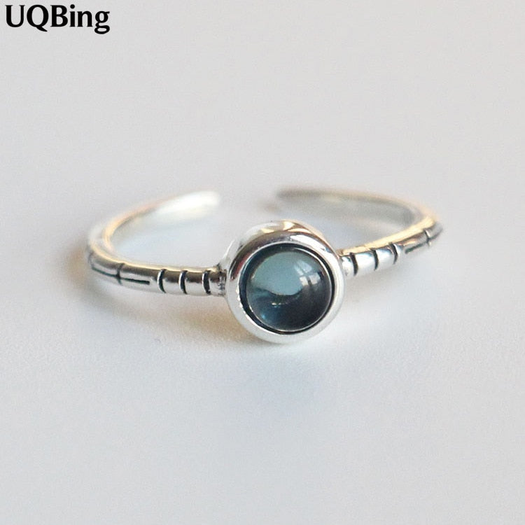 Silver Opal Rings Open 100% 925 Sterling Silver 2019