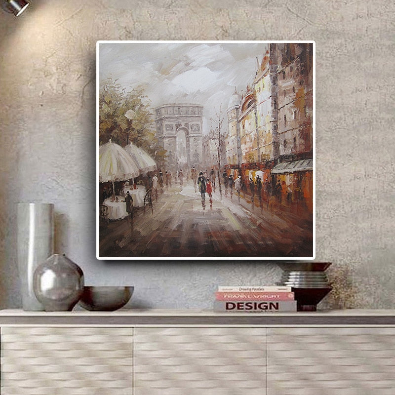 Street Landscap Oil Painting on Canvas Posters and Prints