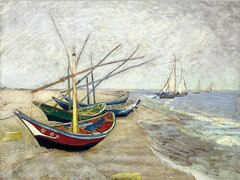 Fishing Boats Saintes Maries Oil Painting on Canvas Print