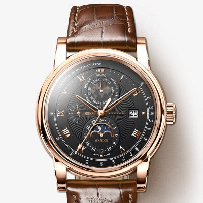 LOBINNI Men Watch Luxury Moon Phase Automatic Mechanical Men's Wirstwatches Sapphire Leather L16003-5