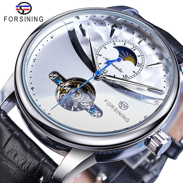 Forsining Blue Moon Phase Mechanical Watches Automatic Tourbillon Men's Genuine Leather Watch
