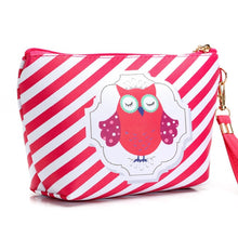 Charger l'image dans la galerie, Cosmetic Case Cute Owl Striped Retro Makeup Bag Beauty Organizer Travel Pouch Necessarie Toiletry Wash Bag