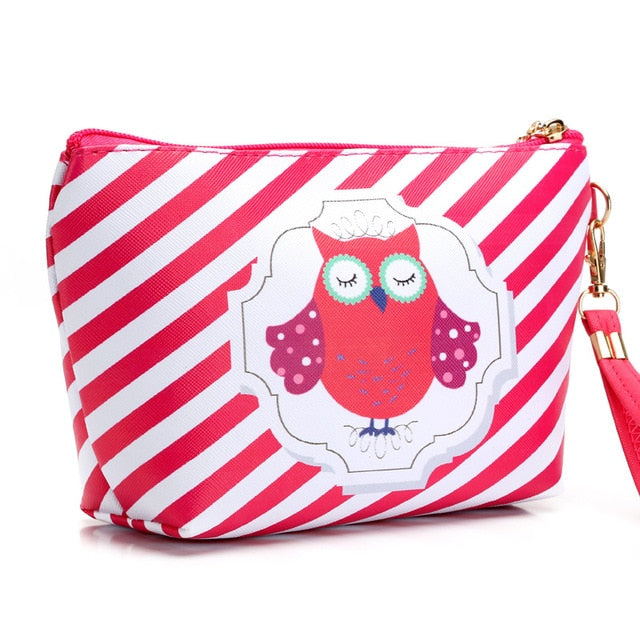 Cosmetic Case Cute Owl Striped Retro Makeup Bag Beauty Organizer Travel Pouch Necessarie Toiletry Wash Bag