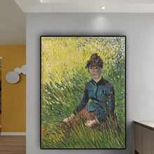 Charger l'image dans la galerie, Woman Sitting in the Grass Oil Painting on Canvas Print Art