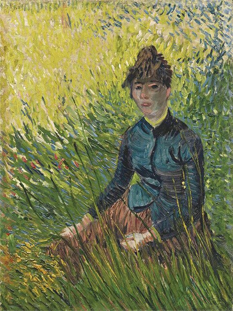 Woman Sitting in the Grass Oil Painting on Canvas Print Art