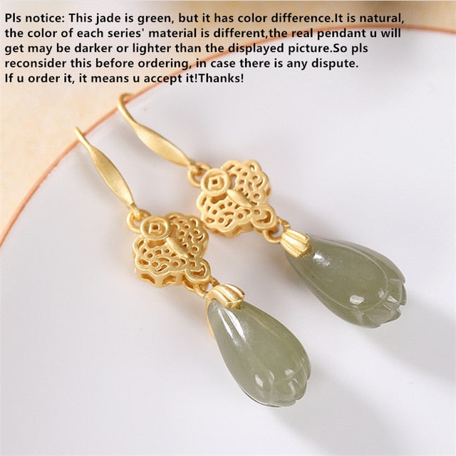 Genuine Natural Jade Magnolia Earrings for Women Gemstones 100% 925 Silver