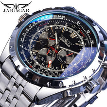 Charger l'image dans la galerie, Automatic Watch Blue Glass  Black Silver Stainless Steel Date Clock Luminous Mechanical Wristwatch