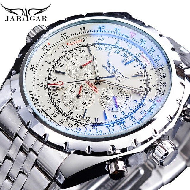 Automatic Watch Blue Glass  Black Silver Stainless Steel Date Clock Luminous Mechanical Wristwatch