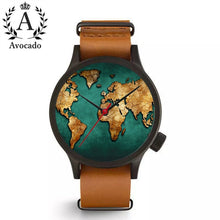 Load image into Gallery viewer, Watch World Map Wrist Quartz Movement Long Leather Watchband Ladies Women Timer