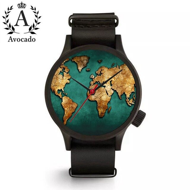 Watch World Map Wrist Quartz Movement Long Leather Watchband Ladies Women Timer
